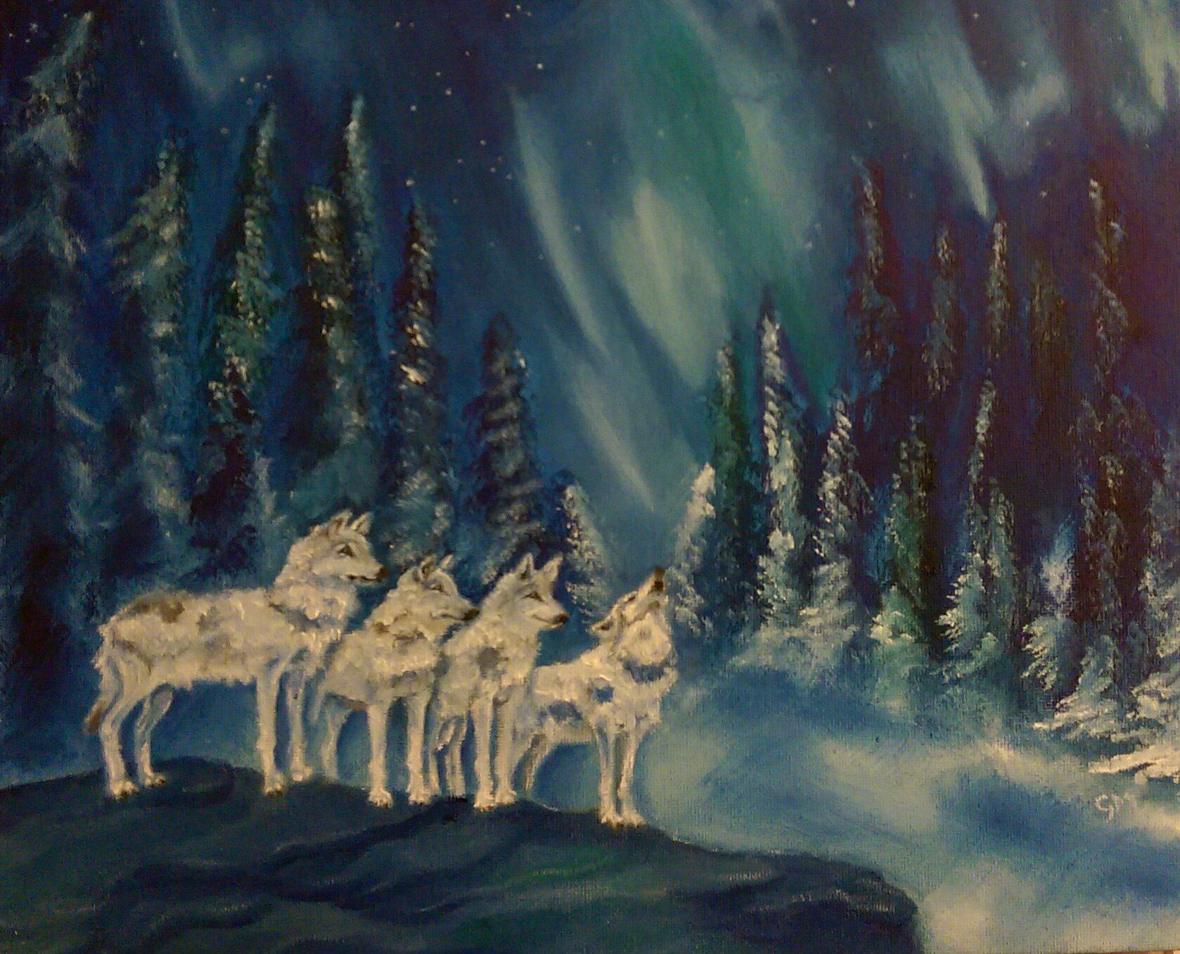 Wolves, Northern lights, Artist, Art, Dorset