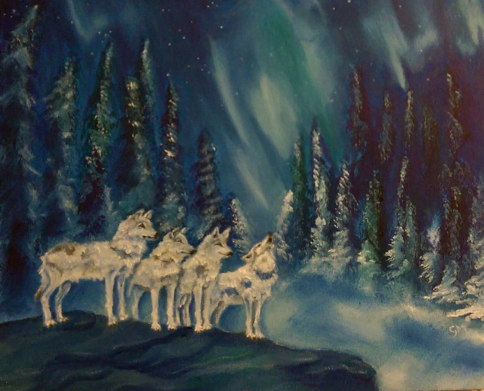 Wolves, Northern lights, Artist, Art, Dorset