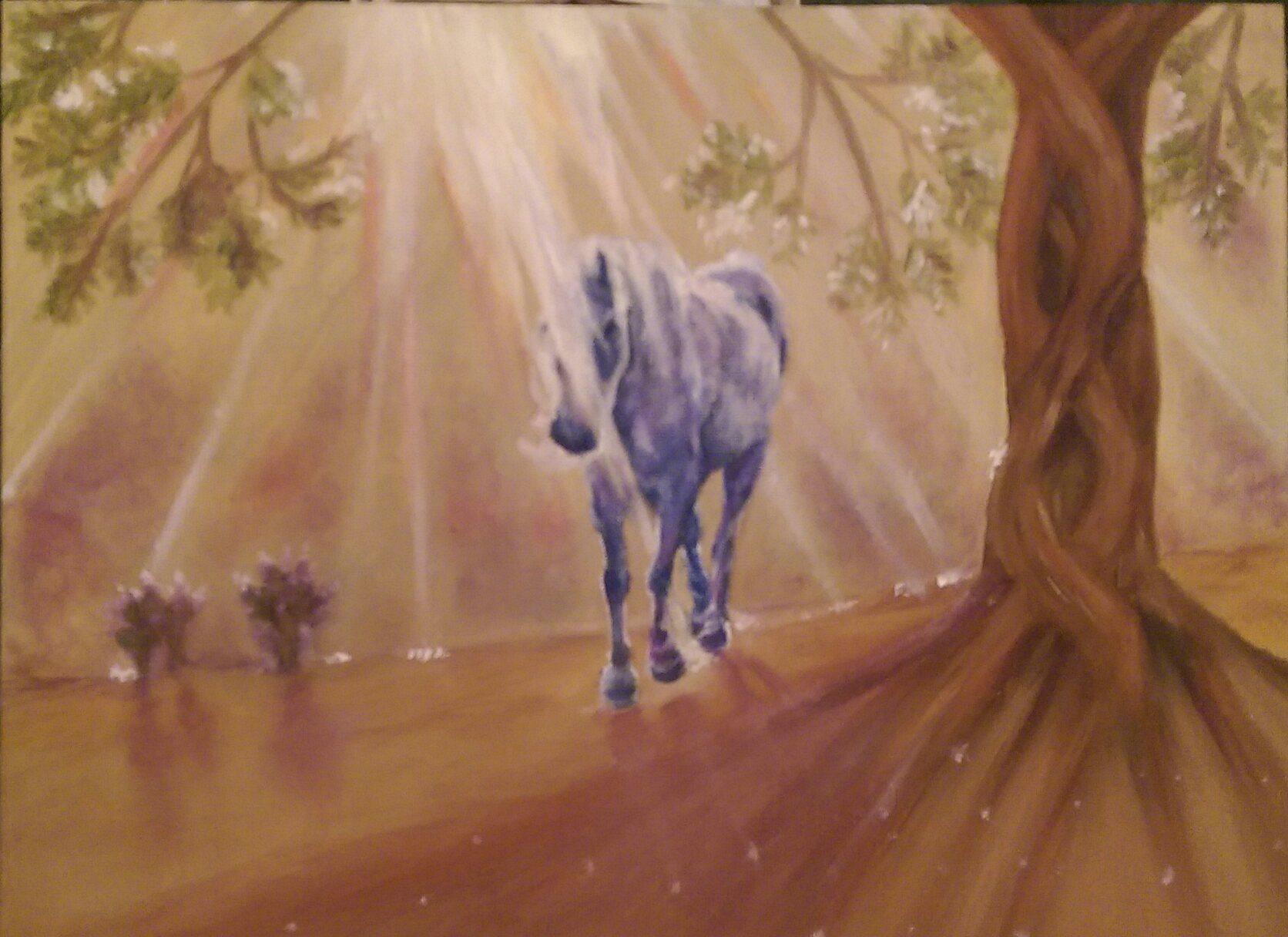 Unidorn, Horse, Art, Portrait, Ash Tree, Tree of Life