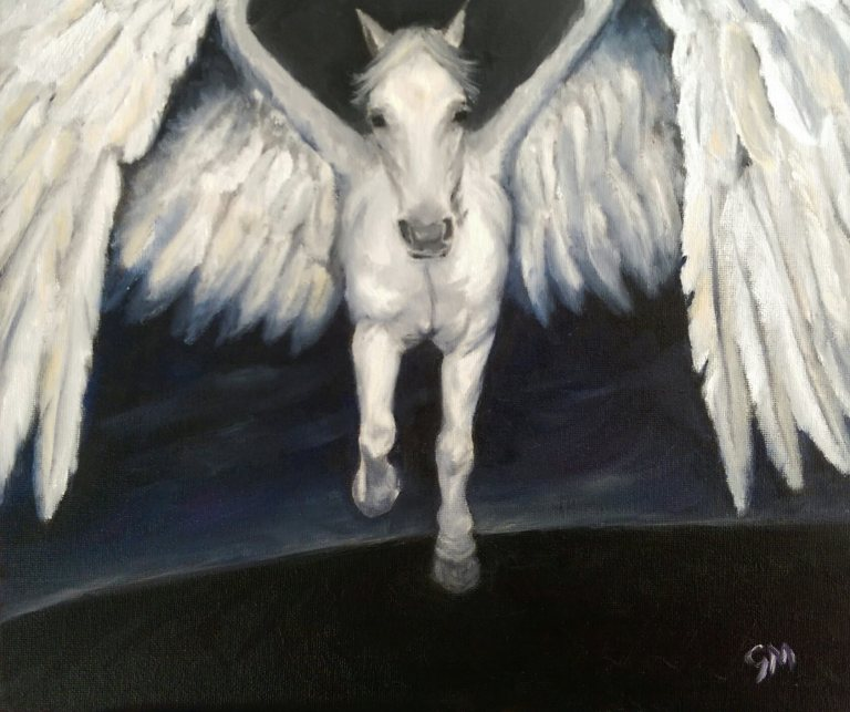 Art, Horses, Fantasy, Pegasus, Elemental, Air, Artist