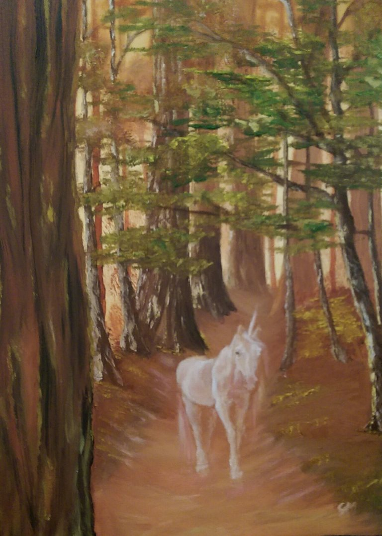 Unicorn, Ancient Woodlands, Dimensions, Art, Georgie McBurney