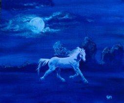 Moonlight Flight (A4) Oils on Canvas Board. Unframed.