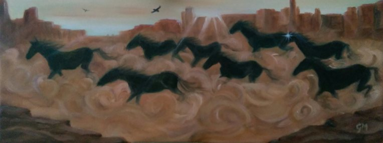 Shadow lands (A4 panoramic) Oils on box canvas. Unframed.