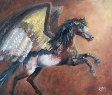 The Earth Horse; Elemental Horse Series. (A4) Oils on Canvas Board. Unframed.