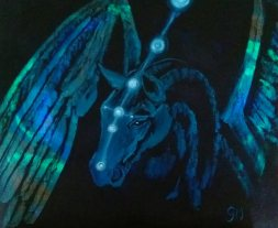 The Spirit Horse; Elemental Horse Series. (A4) Oils on Canvas Board. Unframed.