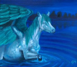 The Water Horse; Elemental Horse Series. (A4) Oils on Canvas Board. Unframed.