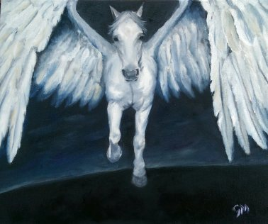 The Winged Horse (Air); Elemental Horse Series. (A4) Oils on Canvas Board. Unframed.