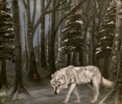 Wolf, Moon, Blue, Fairy door, Woodlands